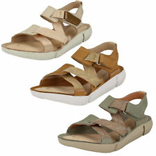 Ladies Clarks Tri Clover Casual Leather Sporty Sandals - D Fitting