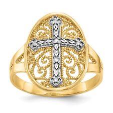 Genuine 14k Two Tone Gold Diamond Filigree Cross Ring  2.28 gr