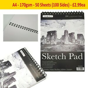 A4 Sketch Pad Spiral Book White Paper Artist Sketching Drawing Premium 50 Sheets