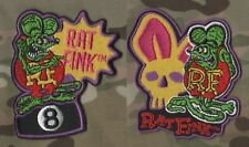 CAFÉ RACER ROCKERS 59 TON-UP BOYS BIG DADDY RatFink RAT FINK IRON-ON 2-PATCH SET