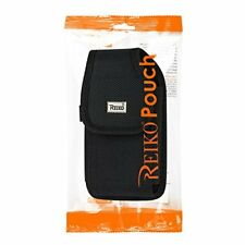 Reiko Vertical Rugged Median Size Pouch With Buckle Clip In Black (3.5X2.05X1.1