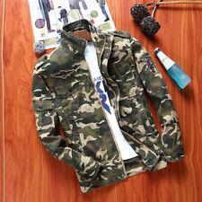 Men's Jacket Army Set Fashion Zipper Cotton Camouflage Work Mens Coat Military