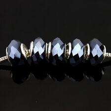 Wholesale 20pcs Facet Crystal Glass Finding Charm Beads Fit European Bracelets