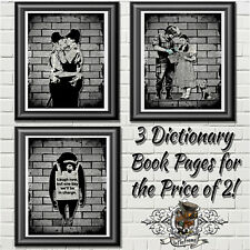 Banksy Art Prints on Antique Dictionary Book Pages, Wall Decor Special Offer