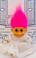 Vintage Russ Troll Bride 1990s Hair Pink Figure 90s Wedding Dress Train Doll Toy