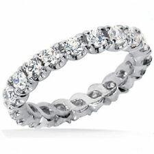 2 ct Round Diamond Ring 14k White Gold Eternity Band F VS size 6, 0.10 ct each