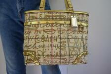 Coach Gold Cream Leather Tote Bag Purse 1941 Shoulder Handbag Lips Eyes