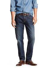 "MEN`S NEW BANANA REPUBLIC ATHLETIC FIT STRAIGHT LEG JEANS W33""-L30"" DARK BLUE"