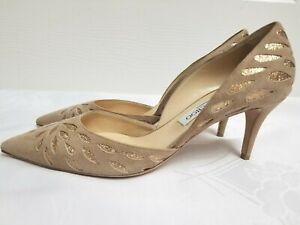 JIMMY CHOO London Pointy Beige/Glittering Suede Heels Pumps Italy Size 40.5