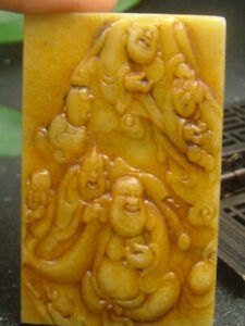 Antique Chinese Nephrite Celadon Hetian OLD Jade TIBET-FO Statue QING