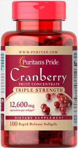 Puritan's Pride Triple Strength Cranberry Fruit Concentrate 12600 mg 100 Softgel