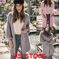 Womens Faux Fur Coat Warm Cardigan Jacket Outwear Long Sleeve Fluffy Shaggy Plus