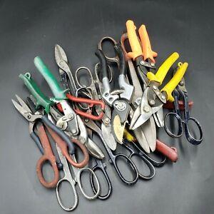 Mixed Lot of 11 Various Metal Cutting Tin Snip WISS Shears Aircraft Tools