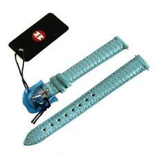 NEW Michele 12mm Sea Blue Watch Band Strap Genuine Lizard