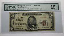 $50 1929 Shelbyville Indiana IN National Currency Bank Note Bill Ch. #4800 F15