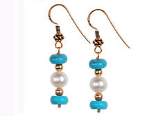 Turquoise & Cultured Pearl Round Button Sterling Earrings