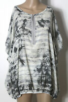 s.Oliver Tunika Gr. L grau/creme-weiß Fledermaus Muster Kurzarm Hüft Bluse