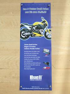 """Original Werbeposter Buell® """"3 Wetter Paket"""" 1999, 41x118cm Kunststoff blau, X1"""