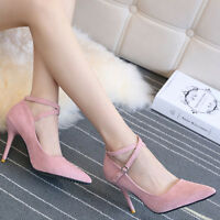 Women Fashion High Heeled Pointed-toe Stiletto Sandals Shoes Pumps Ankle Straps