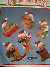 Christmas Bucilla FELT Applique Holiday ORNAMENT Craft Kit,PLAYFUL TEDDIES,82636