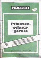 Holder Pflanzenschutzgeräte Ersatzteilliste 10/1983