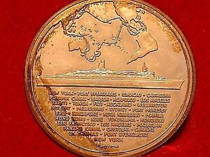 """1978 Queen Elizabeth 2 Sterling Medallion """"The Great Pacific Cruise"""" Cunnard"""