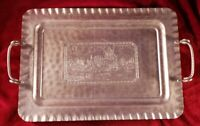 """Vintage Cromwell Hand Wrought Handled Hammered Aluminum Serving Tray 19.25""""x12.5"""