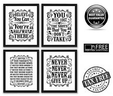 """4 Pack Gym Inspirational Posters Motivational Pain Fitness Workout Quotes 8x10"""""""