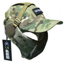Tactical Foldable Mesh Mask With Airsoft Paintball Baseball Cap Camo