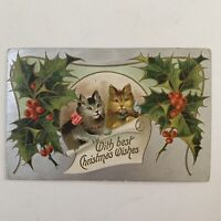 Antique Embossed Christmas Wishes Postcard Silver Foil Adorable Sweet Kittens