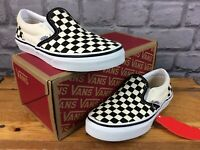 VANS SLIP ON BLACK OFF WHITE CHECKERBOARD TRAINERS CHILDRENS BOYS GIRLS VARIOUS