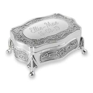 Personalised Silver Plated Antique Style Trinket/Jewellery Box - Engraved