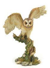 "6.25"" Owl on Tree Nature Wildlife Animal Statue Collectible Wild Bird Figure"