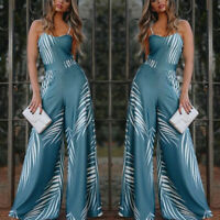 Women Party Prom Summer Beach Loose Floral Print Lady Sling Sleeveless Jumpsuits