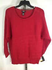 Red 3/4 Sleeve Metallic Sweater PETITE PS Small Alfani Cotton Blend striped top