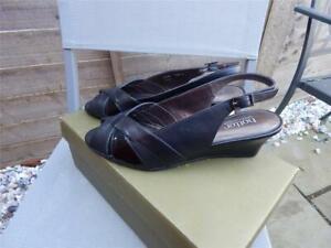 Hotter Java black sling back shoes size 7 Std UK 40 EU Standard size boxed