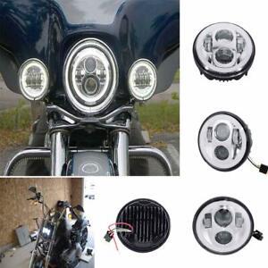 "5-3/4"" 5.75"" LED Projector Headlight DRL  Ring Angel Eye For Harley Davidson"