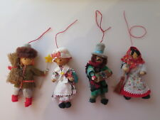 Vintage Old Christmas Ornaments Cloth Soft Body Wood Head & Hands Set of 4
