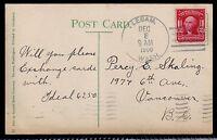 1908 Lebam, Washington to Vancouver, Canada - Scott 319F -State Capital Postcard