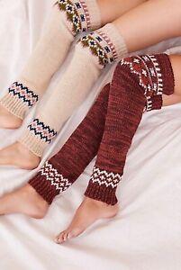 NWT Free People Fairisle Legwarmers Slouchy Knit Ivory or Rust Multi