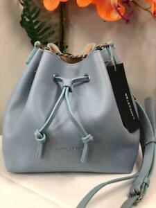 NWT LANCASTER Paris Cuir De Vachette Light Blue Leather Bucket Drawstring Bag
