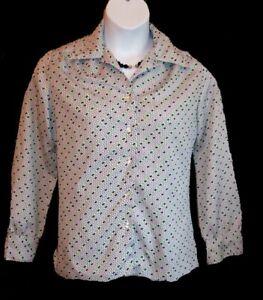 Vintage 70's Blouse Shirt Size 14 M Polyester Inner Visions Black Green Career