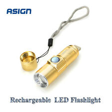 Mini LED Flashlight 5W Zoomable 1000LM Waterproof USB Rechargeable Pocket Torch