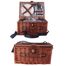 Picknickkorb Weidenkorb mit Besteck Geschirr Picknick Koffer Kühltasche für 2