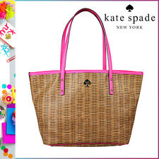 KATE SPADE PVC BASKET PATTERN BEACH LARGE TOTE BAG PURSE $348 BROWN/PINK -RARE