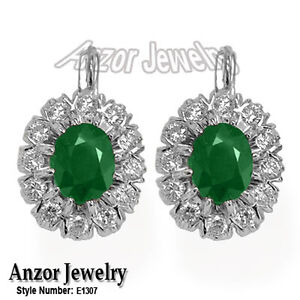 Russian style Earrings 4.0 cwt Emerald and 2.25 Cwt Diamond Earrings 14k (585).