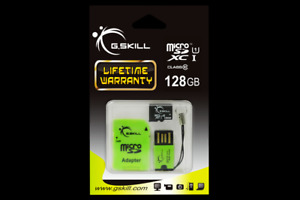 G.skill microSDXC 128GB UHS-1 Class 10 Memory card with free USB/SD adapter