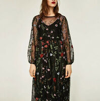 WOMEN long sleeves floral EMBROIDERED sheer DRESS Bloggers FAV black New