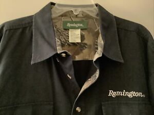Remington Mens 3XL Long Sleeve Embroidered Hunting Shirt Black Button Up