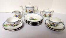 Nippon Blue Sunrise Mark Circa 1890-1921 Child Tea Set 15 Pc Chicken Rabbits